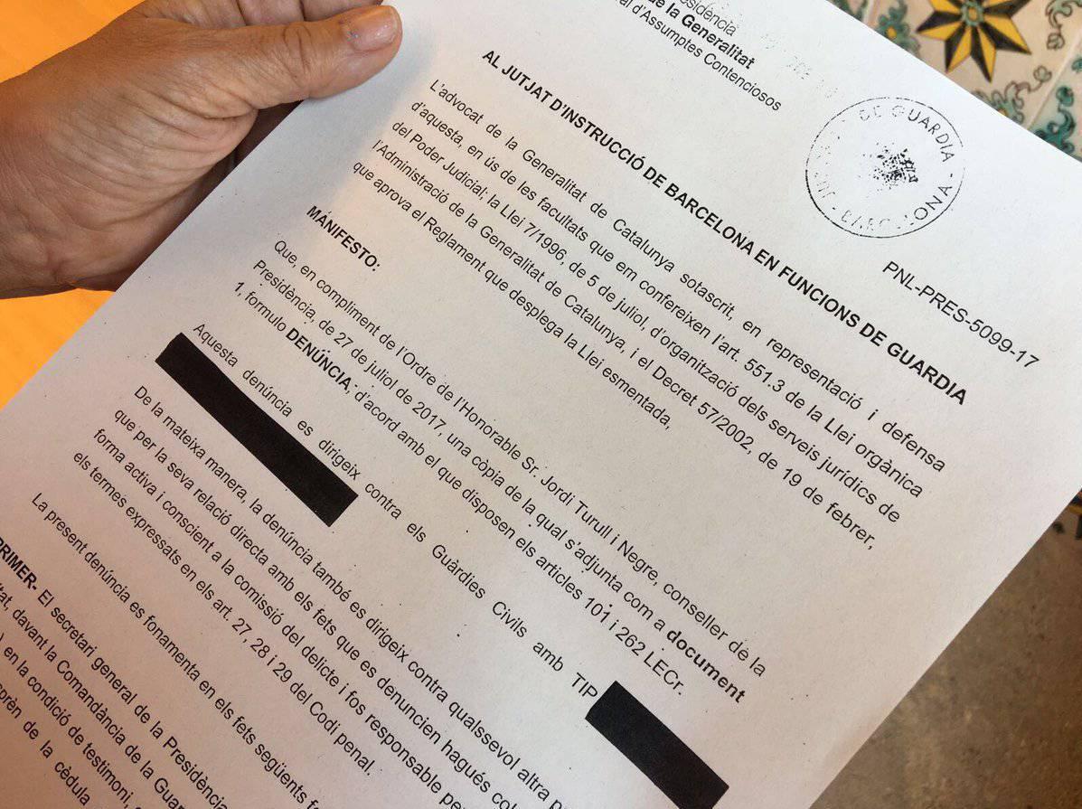 El Govern denúncia la Guàrdia Civil pels interrogatoris
