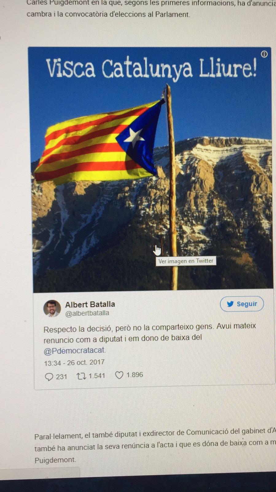 Baixa i renúncia com a diputat d'Albert Batalla