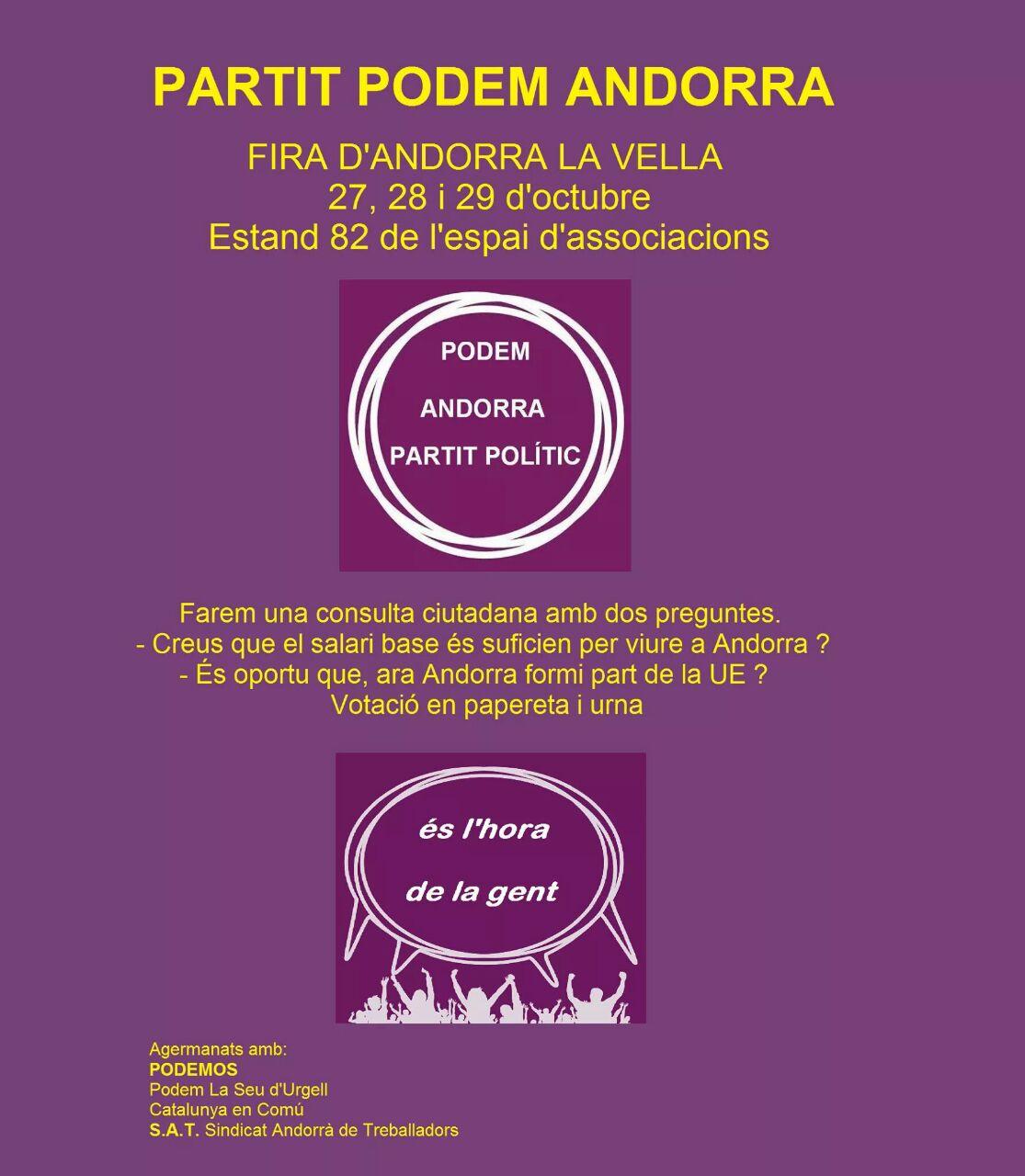 Consulta ciutadana de Podem sobre el salari mínim i l'encaix d'Andorra a la UE
