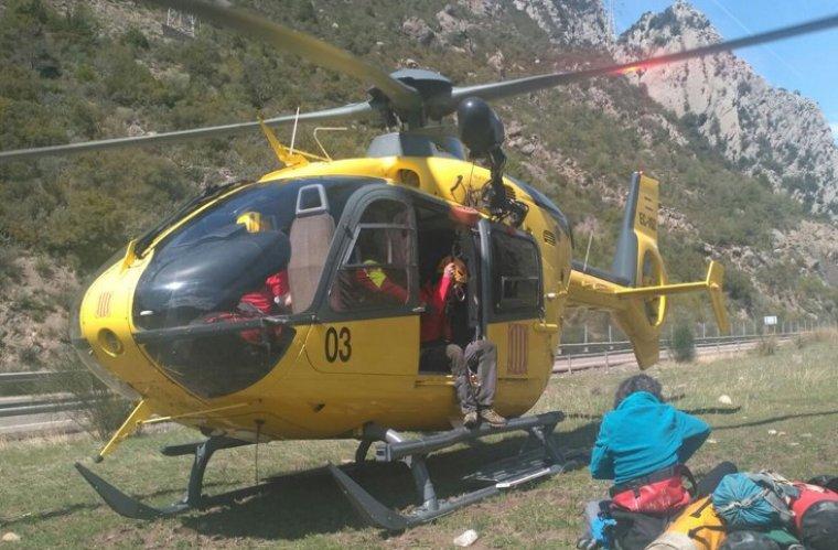Els Bombers rescaten una dona ferida mentre escalava al Baix Pallars