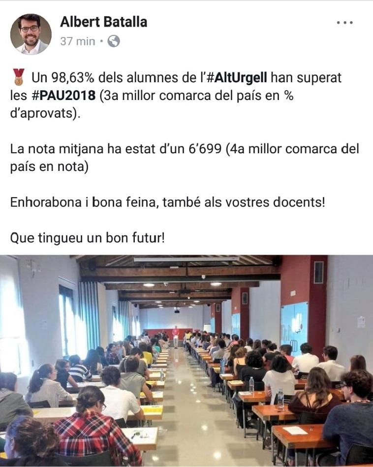 Batalla felicita als alumnes per les PAU, deu dies abans que es coneguin les notes