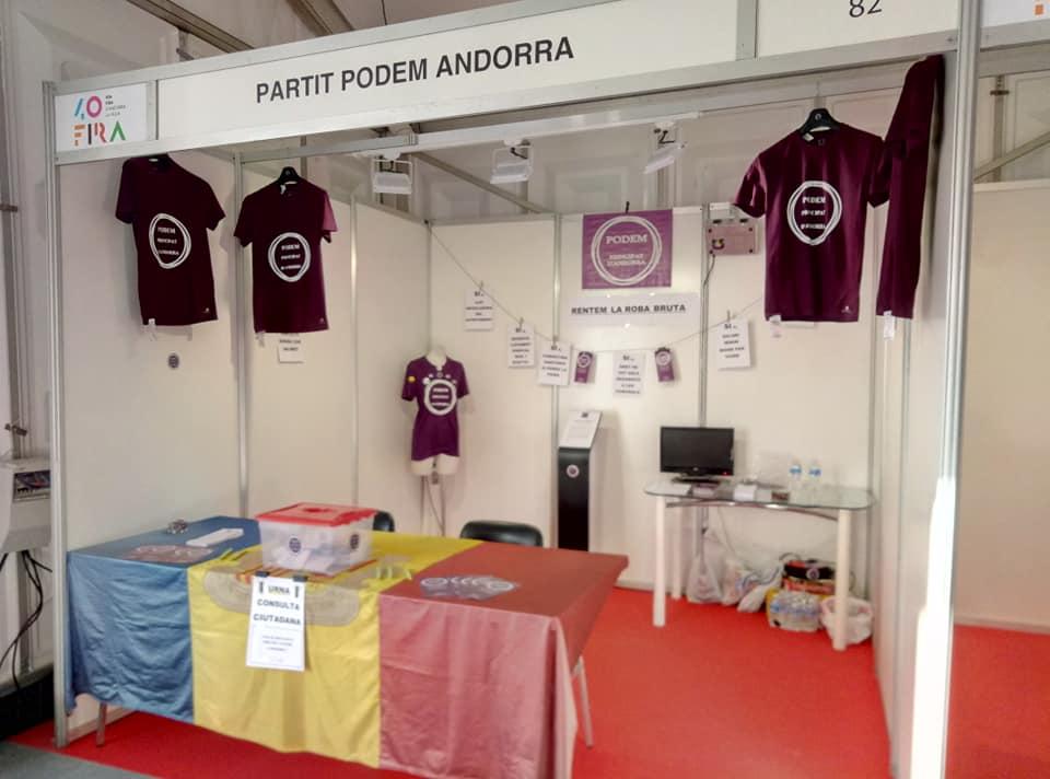 Podem i la Plataforma Sindical es reivindiquen a la 40 edició de la Fira d'Andorra la Vella