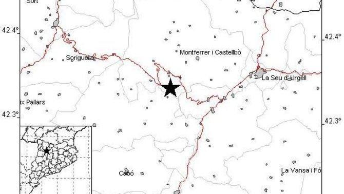 Un terratrèmol de grau 4,2 amb epicentre a l'Alt Urgell es deixa sentir a Catalunya i Andorra
