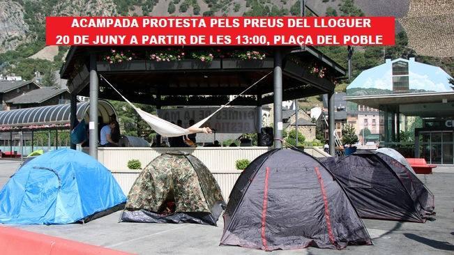 Nova acampada a Andorra en protesta pels elevats preus dels lloguers dels pisos