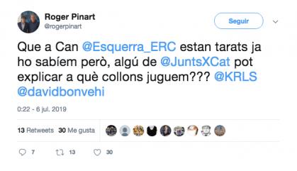 """Un regidor de JxCat tracta ERC de """"tarats"""""""