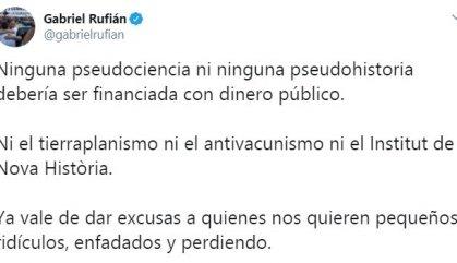 Gabriel Rufián, un altre cop al centre de l'huracà digital, per criticar l'Institut Nova Història