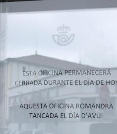 La sospita d'un possible cas de coronavirus obliga a tancar l'oficina de Correus de la Seu