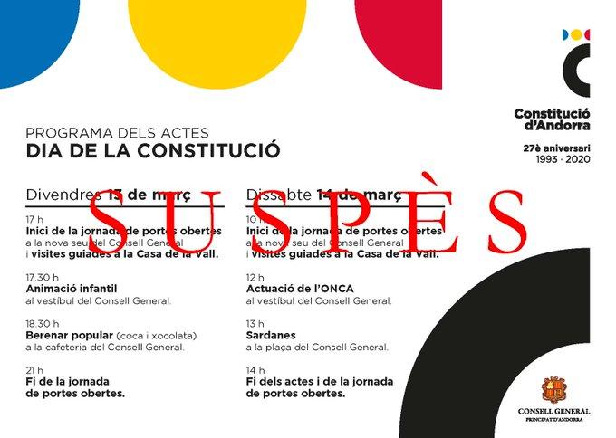 Suspesos tots els actes previstos pel dia de la Constitució a Andorra
