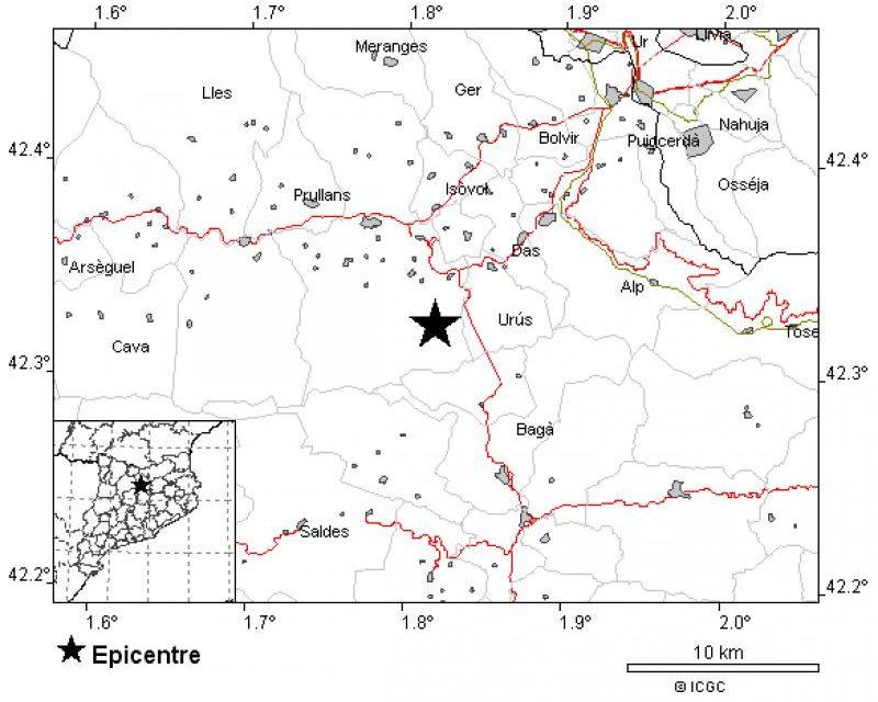 Registrat un sisme de magnitud 2,3 a la Cerdanya, entre Urús i Prullans